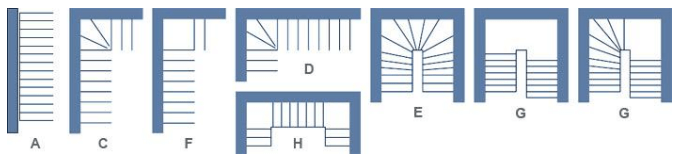 schematic drawings of possible stairways